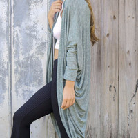 Hold Me Close Hunter Green Heather Knit Cocoon Cardigan With Dolman Sleeves