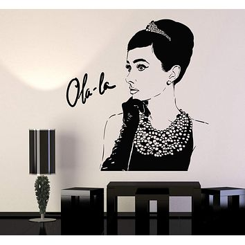 Vinyl Wall Decal Audrey Hepburn Lady Fashion Beauty Movie Actor Stickers Unique Gift (915ig)