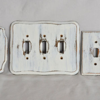 Set of 6 Shabby Chic White Wooden Switch Plate Light Switch and Outlet Covers