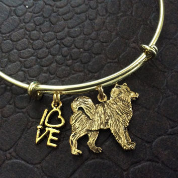 Husky Dog Charm on a Gold Expandable Bracelet Adjustable Wire Bangle Handmade in America Dog Lover Gift