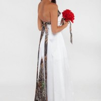 "3074 ""Amy Ann"" A-line with Tie Back, Back Insert Camouflage Prom Wedding Homecoming Formals"