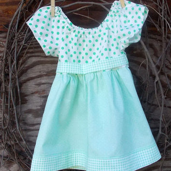Baby Girl Clothing Peasant Dress, green polka dot and Plaid, tie sash,  flutter sleeves, 9, 12, 18 months size