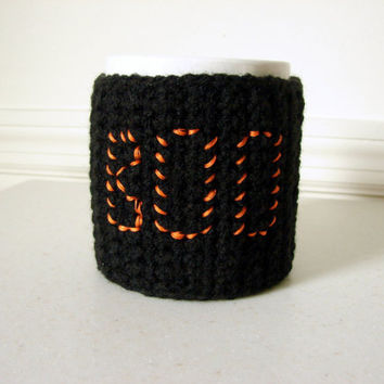 Coffee Cup Cozy Mug Cup Sleeve Black Orange by MyHobbyShop on Etsy
