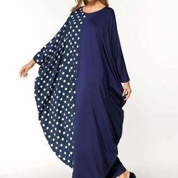 Patchwork Polka Dots Batwing Sleeve Women's Maxi Dress