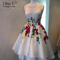 IBayU Real Photos Arabic Dresses Sheer Tulle White Short Cocktail Dresses 2016 Applique 3D Flowers Hi Lo Prom Dresses For Teens