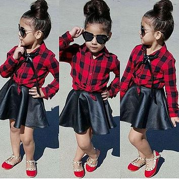 Fashion baby child girl clothes trend plaid shirt top+ imitation leather skirt