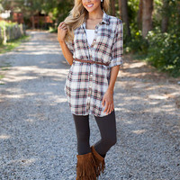 Oh So Sassy Plaid Tunic Red
