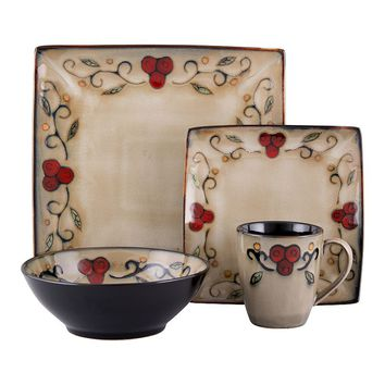 Sango Jubilee 16-pc. Square Dinnerware Set (Black)