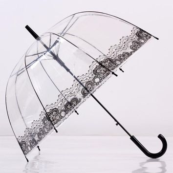Long Handle Lace Flower Umbrella Transparent Sunny Rainy Umbrella Bumbershoot Parasol Portable Outdoor Rain Gear Supplies