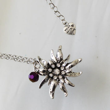 Crystal decorated Rapunzel Sun Flowe Necklace Rapunzel Purple bead Costume Fairy Tale Princess Necklace