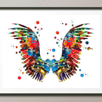 Angel Wings Print watercolor painting colorful feathers Giclee print Wings illustration boho Wall Art home Decor horizontal print [N154]