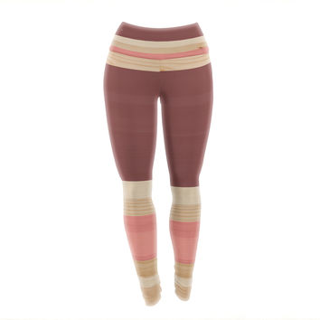 "KESS Original ""Spring Swatch - Marsala Strawberry"" Red Pink Yoga Leggings"