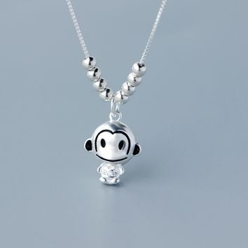 Super cute little monkey 925 sterling silver necklace, a perfect gift