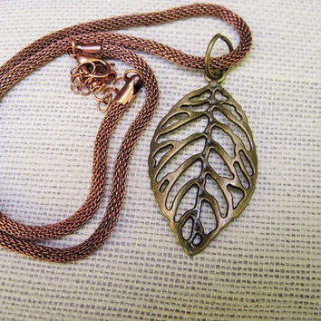 leaf necklace-copper leaf necklace-fall necklace-fall jewelry-leaf jewelry-short leaf necklace-Christmasinjuly