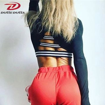 Sexy Women Female Backless Sport Jerseys Crop Sportswear For Fitness Vest Long Sleeve Yoga Top Athletic Running Workout T Shirt