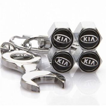 HuiDuoDuo (4caps+1 spanner keyring) set Car Kia Logo Styling Tire Valve Caps Automobile Wheel Stems Cover Accessories