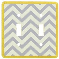Yellow, White & Gray Chevron Double Switch Plate | Shop Hobby Lobby