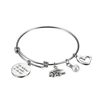 Graduation Gift | She Believed She Could So She Did Stainless Steel Inspirational Wire Bangle Expandable Charm Bracelet