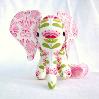 Elephant toy with pacifier tail and sound, pink and white. Made to order.