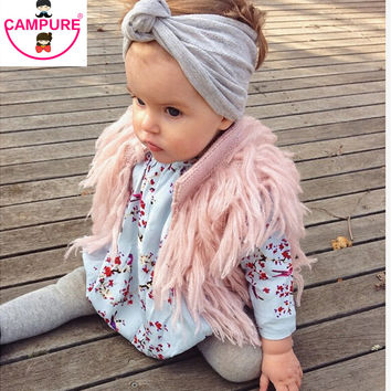 Handmade Crochet Kids Fringed Vest Brand Girls Waistcoat Outwwear Children Cardigan Faux Fur Sweater Vest For Baby Kids Cardigan