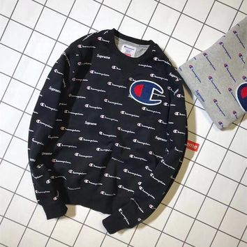 """""""Champion x Supreme"""" Unisex Fashion Personality Letter Logo Print Long Sleeve Thickened Sweater Couple Casual Tops"""