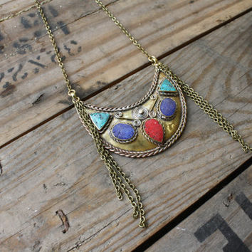 Half Moon Brass Pendant Necklace by SaintEveJewelry on Etsy