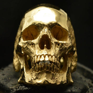 Into The Fire Jewelry - 18 kt. rose gold Skull ring Mid size full jaw silver mens skull biker masonic rock n roll handmade jewelry  etsy