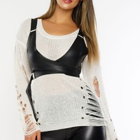 Ripped To Shreds Sweater - Ivory