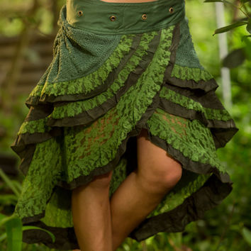 Green Gypsy Wrap Skirt - Boho Tribal Fairy Festival Layer Crochet Wrap Around Skirt