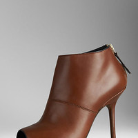 Peep-Toe Leather Ankle Boots