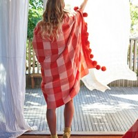 Tartan Pom Pom Blanket by Kip & Co | Homewares | Blankets & Throws - Hunters and Gatherers