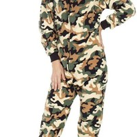 Footed Pajamas - CamoForce Green Adult Hoodie One Piece
