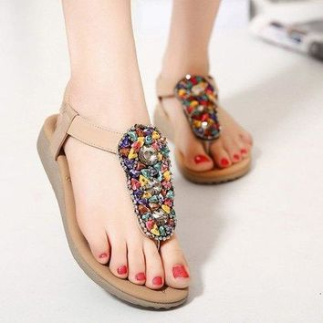 Stylish Flat Heel and Beading Design Sandals For Women - Apricot 37