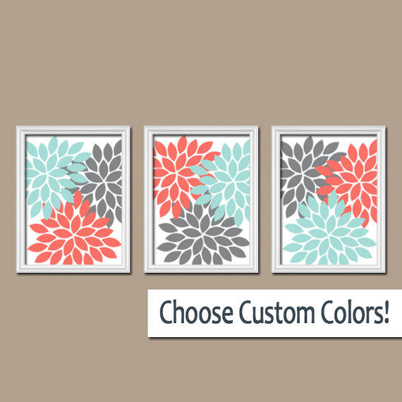 Wall Art Canvas Coral Gray Aqua Turquoise From TRM Design