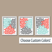 Wall Art Canvas Coral Gray Aqua Turquoise Artwork Colors Flower Burst Dahlia  Set of 3 Trio Prints Decor  Bedroom   Bathroom Three