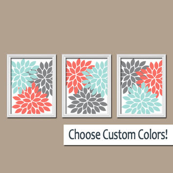 Wall Art Canvas Coral Gray Aqua Turquoise Artwork Colors Flower