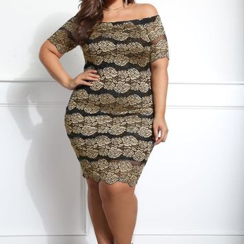 Floral Pattern Off Shoulder Plus Size Bodycon Dress