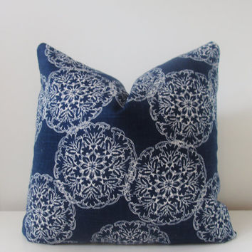 John Robshaw Danda Indigo Medallion Pillow Cover 18x18, 20x20 Square Throw Pillow 16 22 24