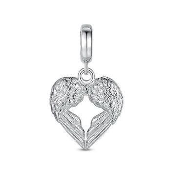 Heart Angel Wing 925 Sterling Silver Bead Fit Pandora Charms