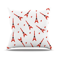 "Louise ""Paris"" White Red Outdoor Throw Pillow"