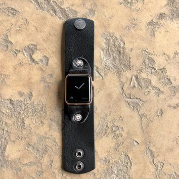 Smooth Buffalo Lux Leather Watch Band in Black w/ Swarovski Crystals