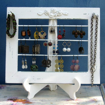 Earrings Holder On A Stand / cream Shabby Chic 25 - 40 Earrings / 6-10 Necklaces