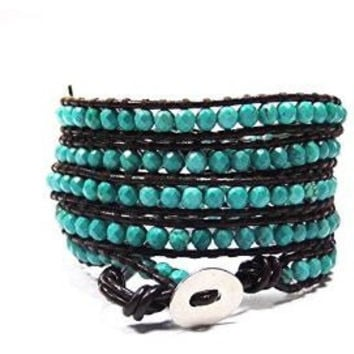 Chan Luu Style Wrap Bracelet Brown Leather and Turquoise