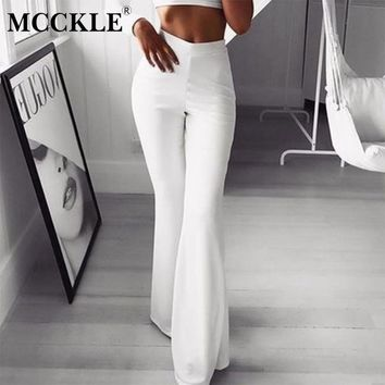 MCCKLE Women's Streatchy Flare Pants 2018 Autumn Female Fashion Bottoms Ladies Elegant High Waist Solid Slim Fit Long Trousers