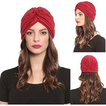 2017 New Fashion Women Turban Hat Bohemia 21 Solid Color Fold Beanies Female Simple Autumn Bonnet Indian Turban Hats For Women