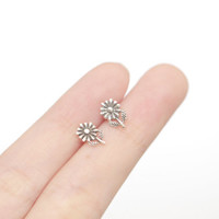 Oxidised Sunflower Earrings, Sunflower Earrings, Flower Earrings, Sunflower Stud Earrings, Silver Sunflower Studs, Nature Jewelry