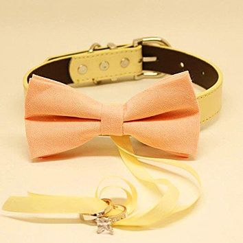 Peach Dog Bow Tie Ring Bearer Collar, Pet Wedding accessory, Proposal, Chic