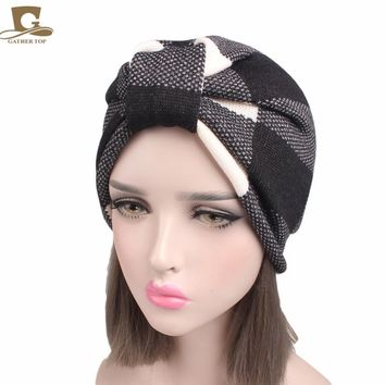 New Winter Women Knitted Warm Turban Head Wrap Turban With Fleece Linging Chemo Cap Liner For Cancer Hair Loss Ladies Turbante