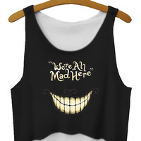 Newly Summer Style Hot Selling We Are All Mad Here Sleeveless Crop Top School Blouses