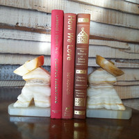 Bookends, Hand Carved Onyx Mexican Cowboys in Sombreros, Southwestern Napping Men, Heavy Marble FREE US Shipping